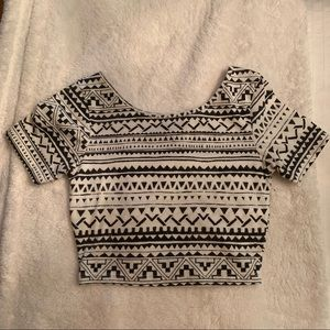A patterned crop top